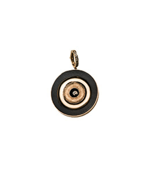 Gold Turkish Evil Eye Ebony Pendant