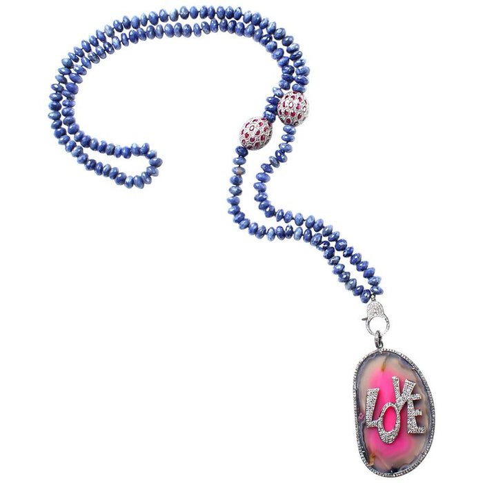 Pink Agate 'Love' Lapis and Ruby Beaded Necklace