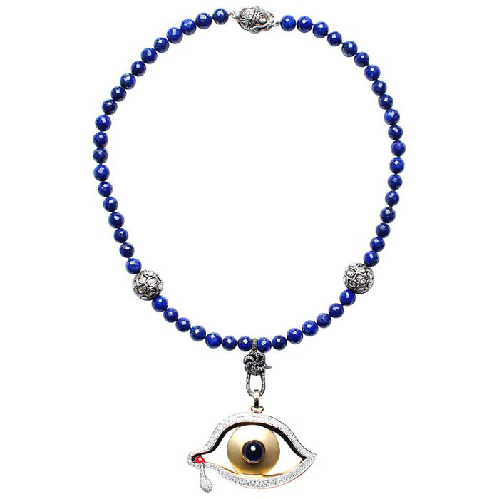 Lapis, Diamond, Sapphire Dali's Eye Beaded Necklace
