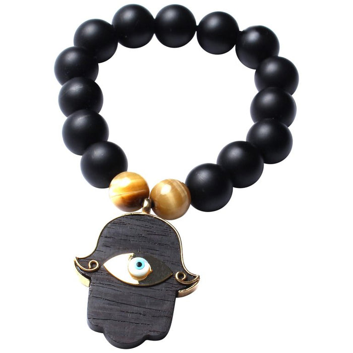 Onyx Ebony Tiger Eye Beaded Hamsa Hand Bracelet