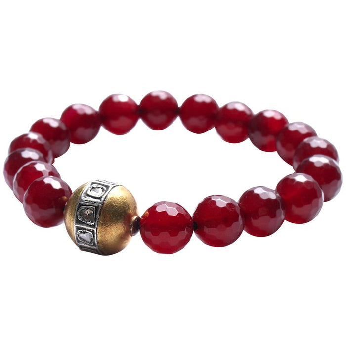 Garnet, Gold, Rose Cut Diamond Beaded Bracelet