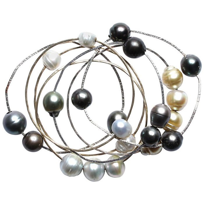 Silver, Freshwater Pearl Bangle Set