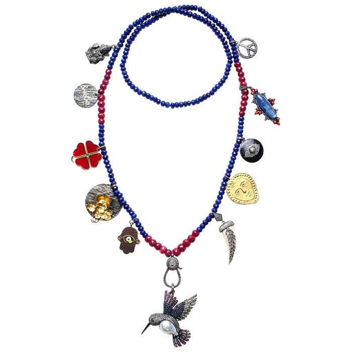 Birthday Necklace Lapis Ruby with Hummingbird Pendant