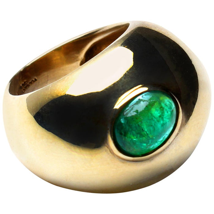 Signature Emerald Stone Gold Bubble Ring