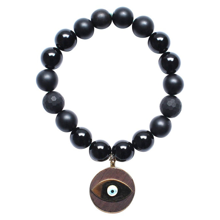 Matte and Shiny Onyx, 14k Gold, Ebony Evil Eye Beaded Bracelet