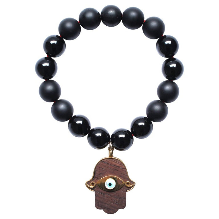Matte and Shiny Onyx Ebony 14k Gold Hamsa Hand Beaded Bracelet