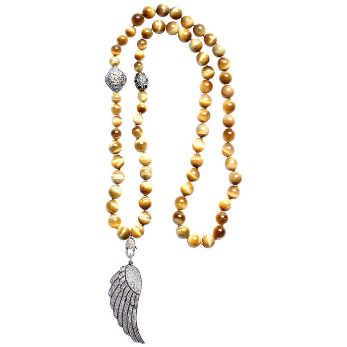Tiger Eye, Diamond, 14 Karat Gold, Sapphire Angel Wing Pendant Beaded Necklace