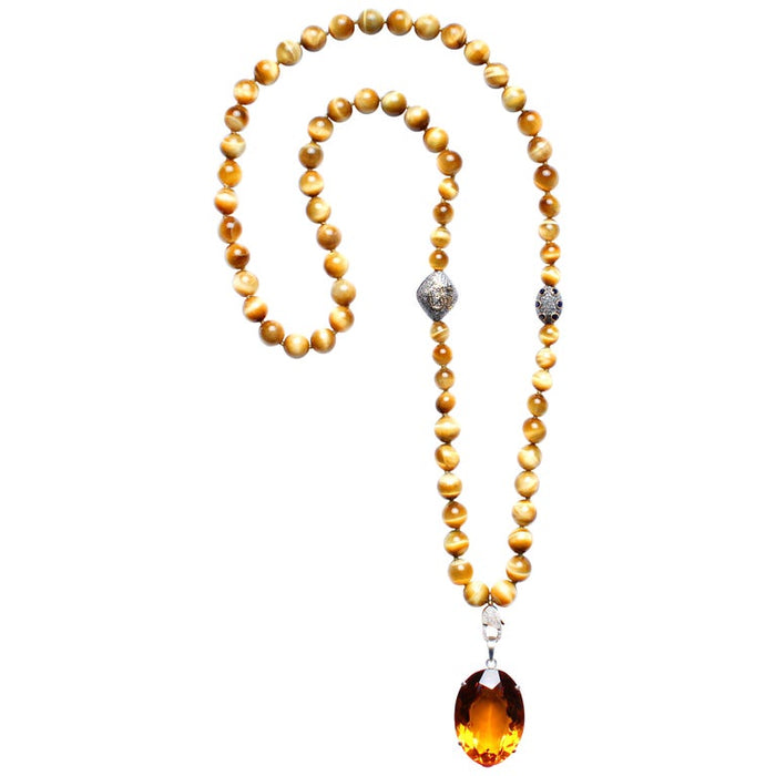 Tiger Eye Beaded Necklace with Citrine Pendant