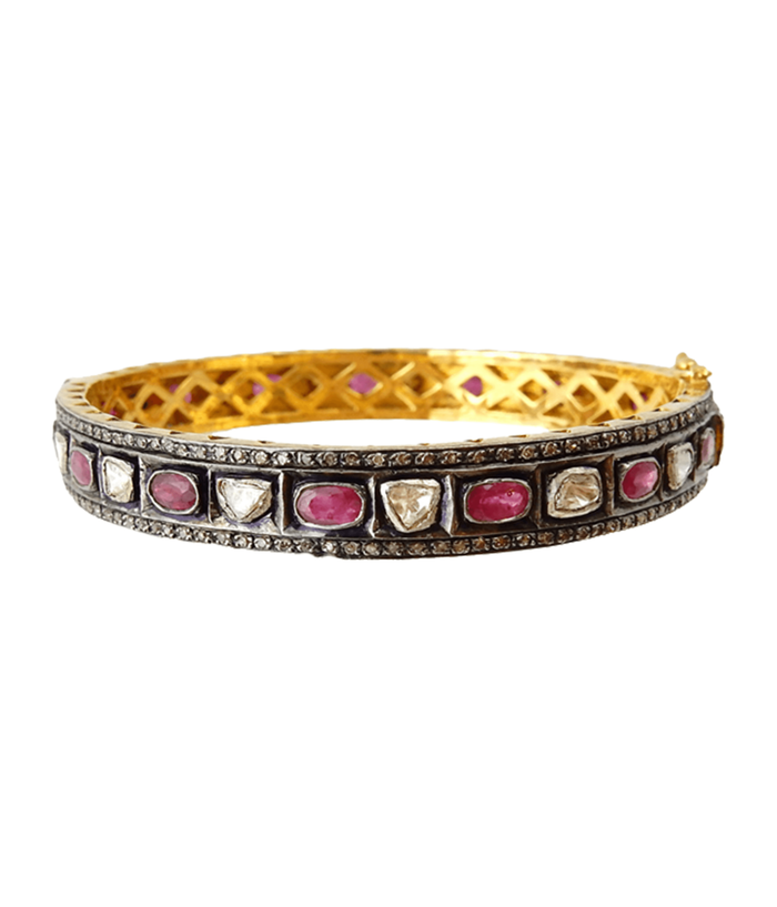 Rosecut Diamond and Rubies on Silver Bangle
