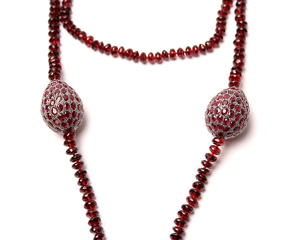 Silver Ethiopian Cross, Garnet and Diamond Beaded Necklace