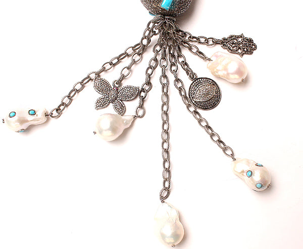Turquoise, Silver, Diamond, Pearl Necklace