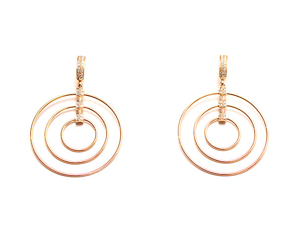 18 Karat Pink Gold and Diamond Hoop Earrings