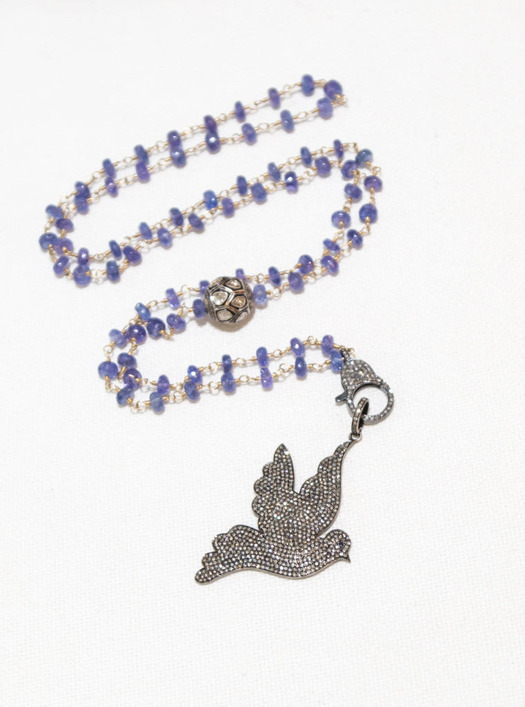 Blue Garnet Diamond Dove Wired Beaded Necklace