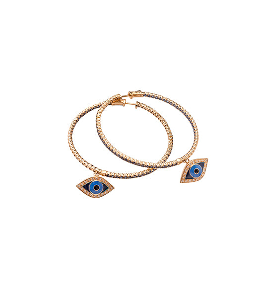 Sapphire Evil Eye Hoop Earrings