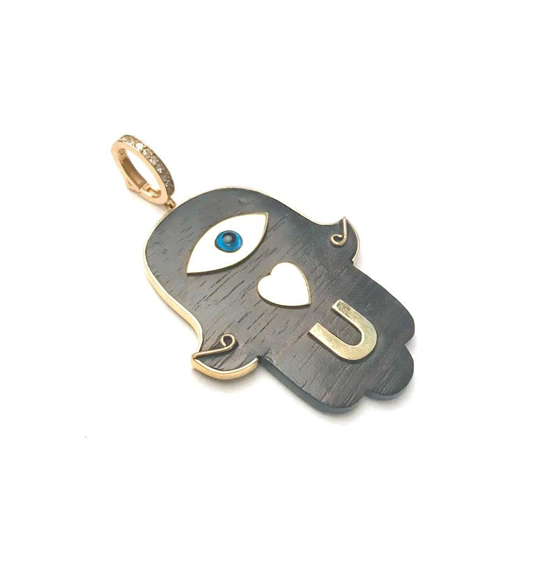 Eye Love U Hamsa Hand Ebony Pendant