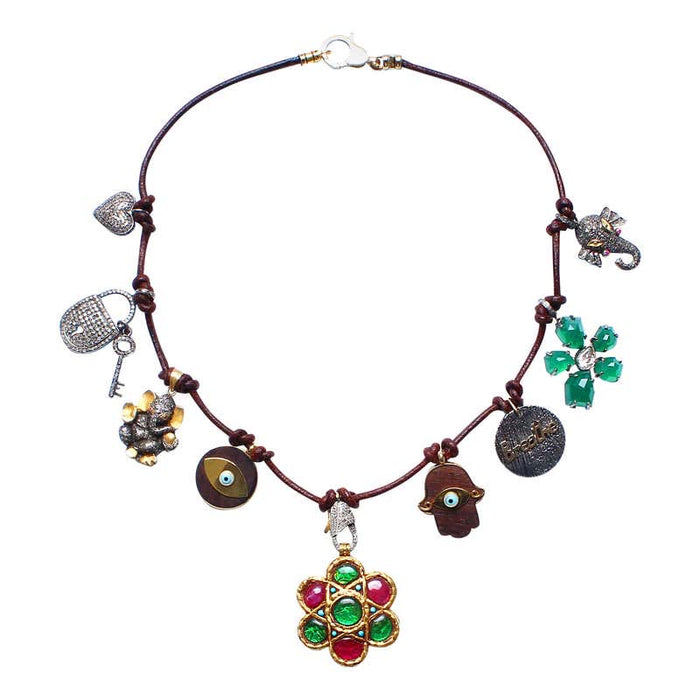Brown Leather Charm Necklace