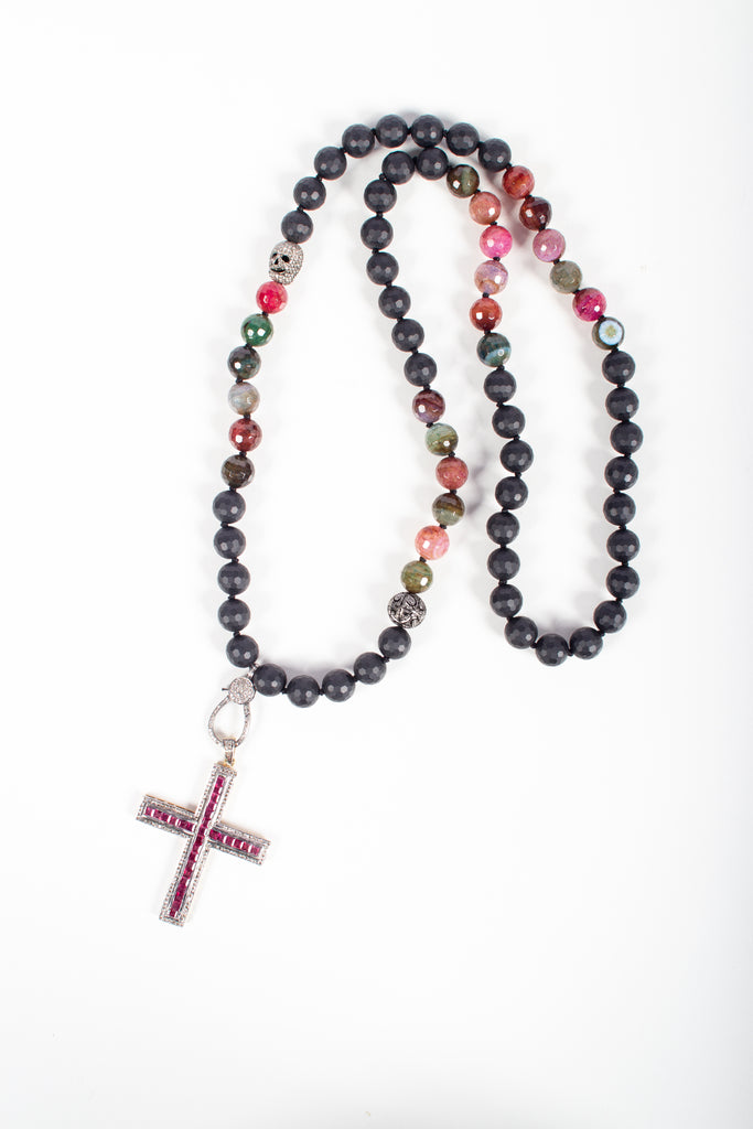 Onyx, Agate, Ruby, Diamond, Silver Cross Beaded Necklace