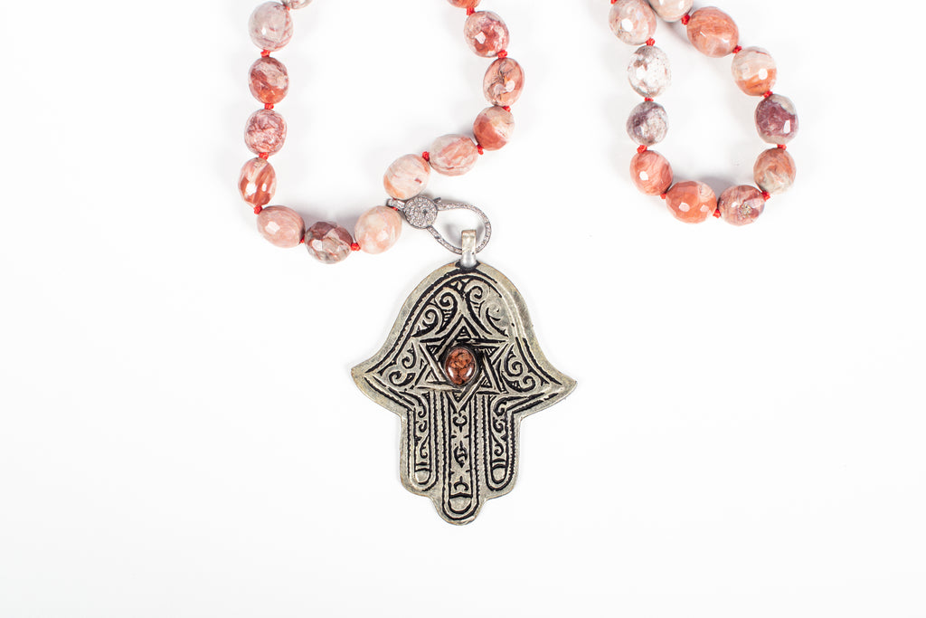 Neutral Agate, Rosecut Diamond, Antique Silver, Red Clay Necklace