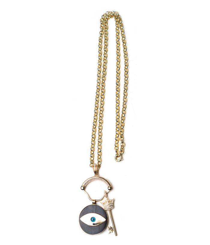 Ebony 14k gold Evil Eye and 14k gold Sapphire Crown Key on Gold Chain and Clasp Holder