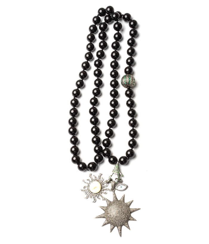 Onyx Diamond Bone Enamel Emerald Star Sun Eye Beaded Necklace