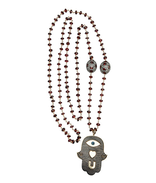 Garnet Ruby Ebony Eye Love You Hamsa Hand Pendant Beaded Necklace