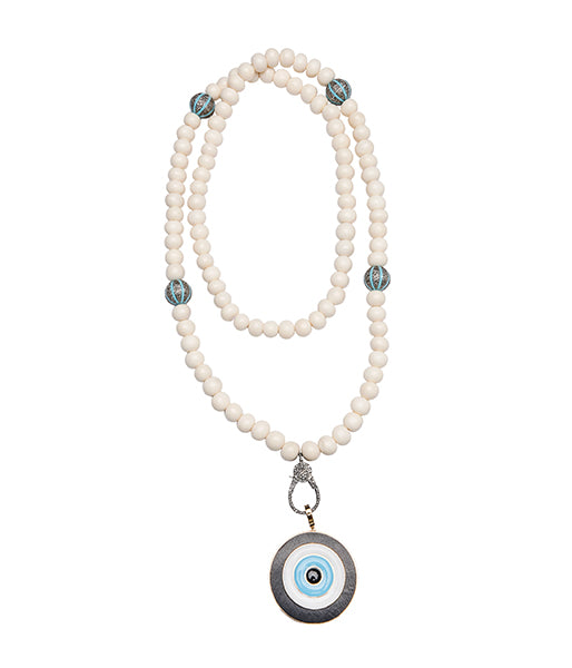 Bone Turquoise Ebony Enamel Diamond 14k gold Evil Eye Pendant Beaded Necklace