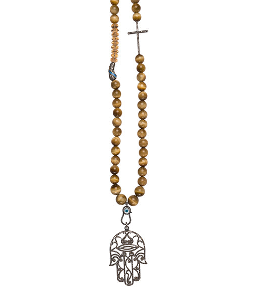 Tiger Eye Beaded Necklace with Diamond Hamsa Hand