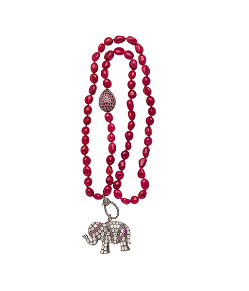 Raw cut Ruby Rose Cut Diamond and Ruby Elephant Beaded Necklace