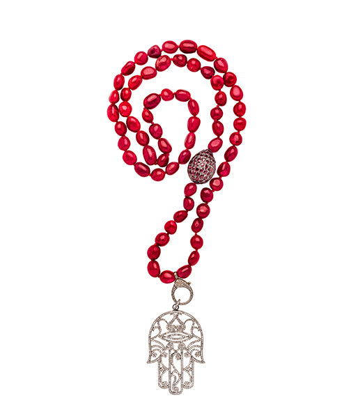 Raw cut Ruby Silver and Diamond Hamsa Hand Beaded Necklace