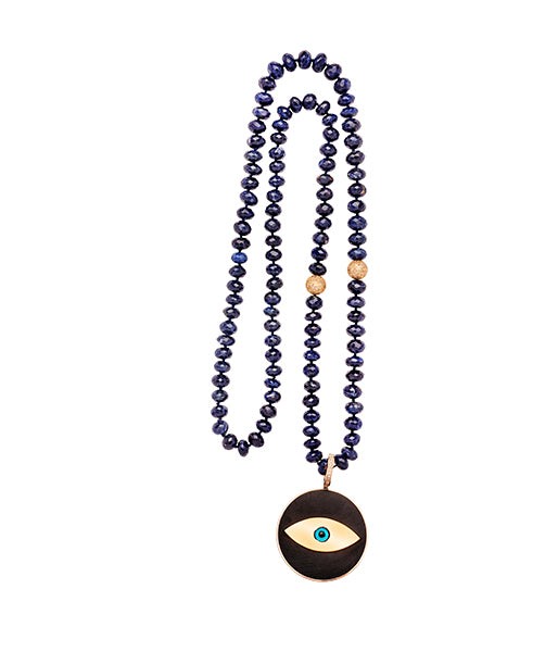 Lapis gold and diamond bead Ebony Evil Eye Pendant Beaded Necklace
