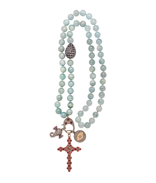 Aquamarine Sapphire Elephant, Evil Eye, Ruby Cross Beaded Necklace