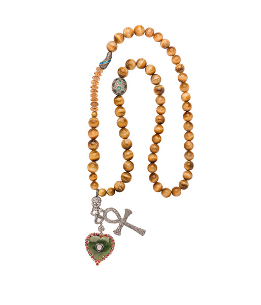 Tiger Eye Diamond Ruby Heart Diamond Cross Beaded Necklace