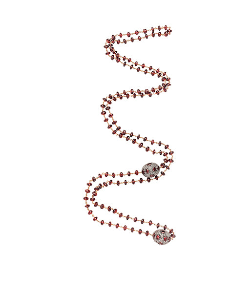 Garnet Ruby Diamond Wired Beaded Necklaced