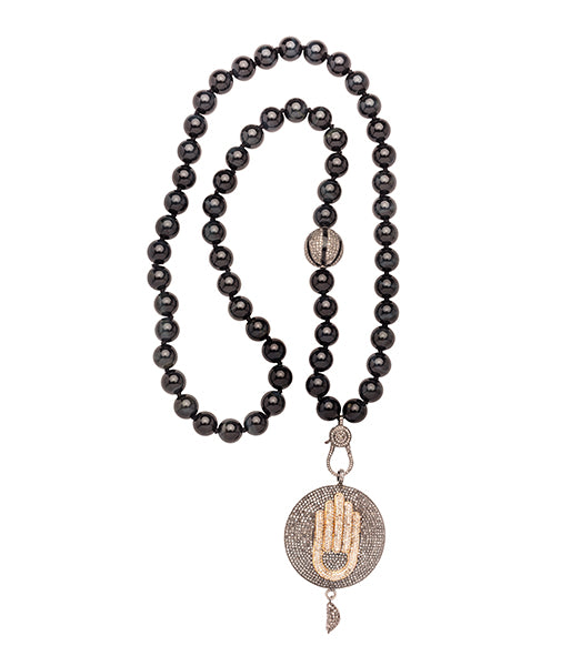 Onyx Diamond Hamsa Hand Necklace