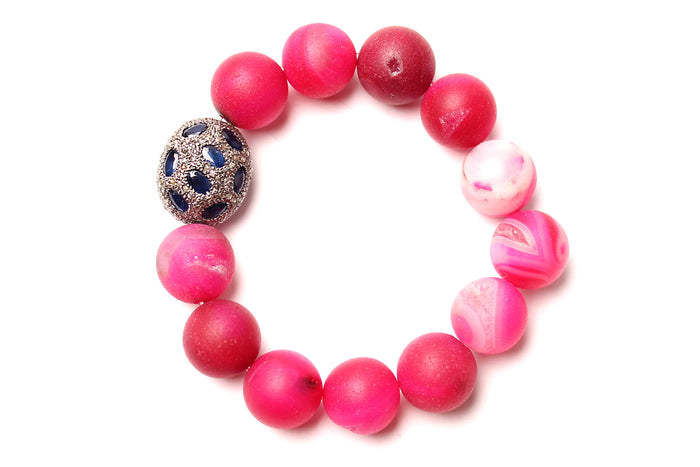 Pink Agate beaded Bracelet with Diamond and Sapphire Tumbler