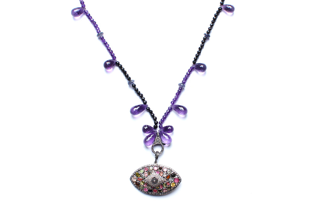 Amethyst, Diamond, Multi Rose Cut Stone Evil Eye Beaded Necklace