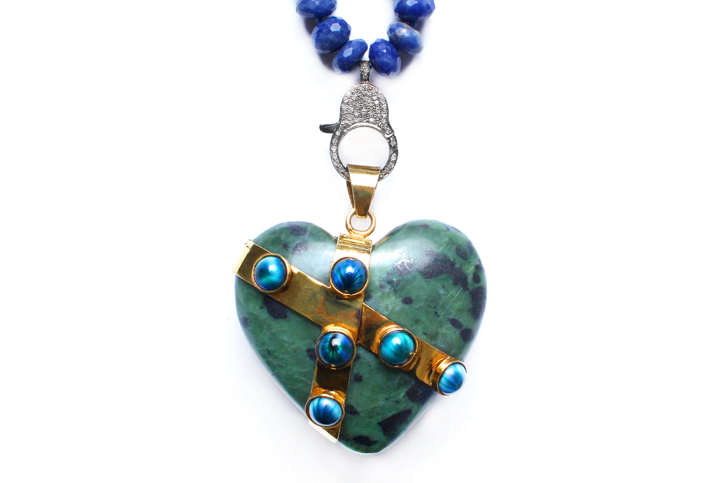 Lapis, Jade, Sapphire, Diamond, 14k Gold Locked Heart Necklace