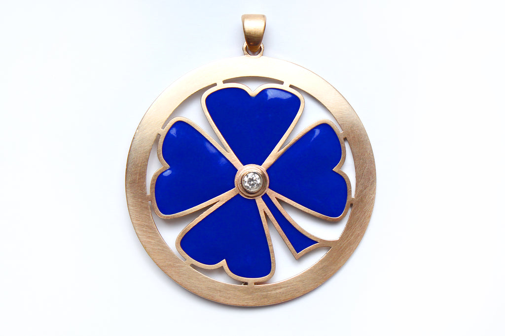 Lapis Rose Cut Diamond 14k Gold Enamel Clover Pendant Necklace
