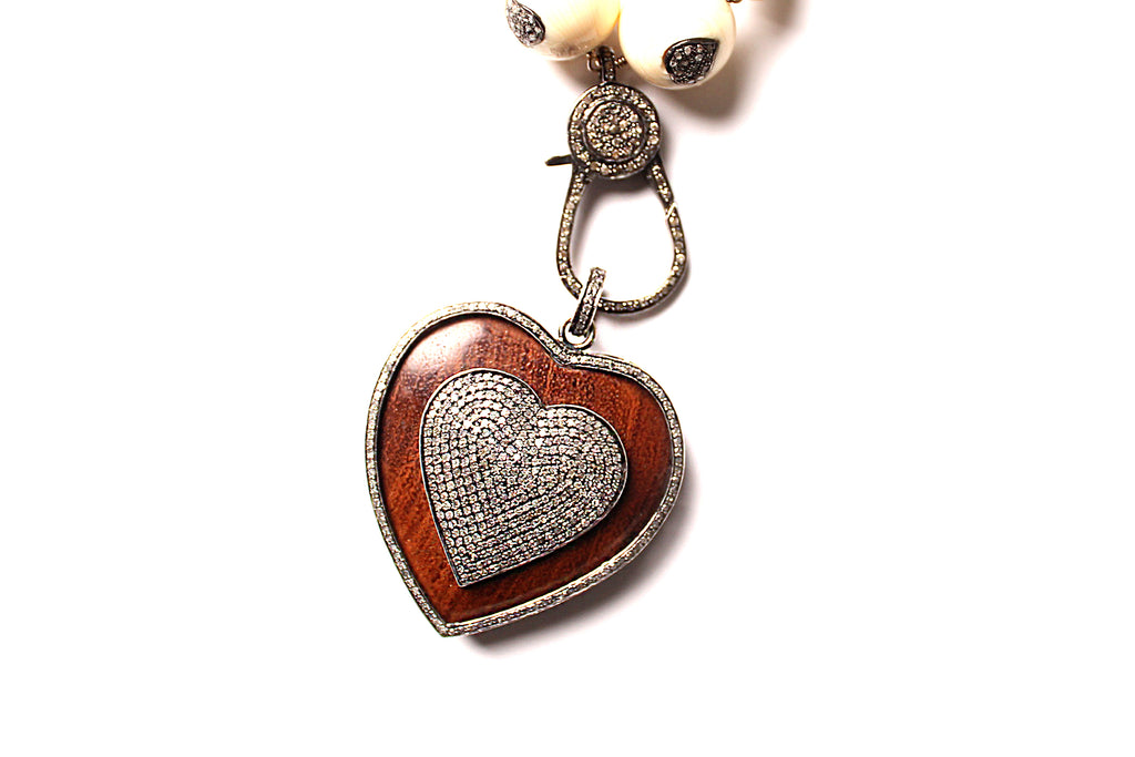Bone Heart Diamond Encrusted Necklace