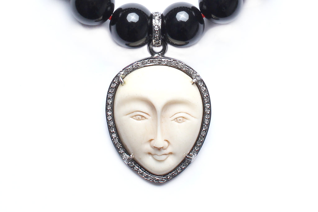 Onyx, Diamond, Bone Teardrop Face Beaded Bracelet
