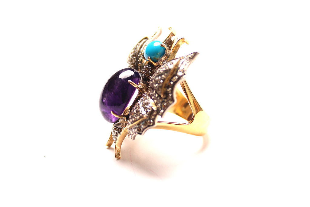 Turquoise, Amethyst, Diamond Butterfly Ring