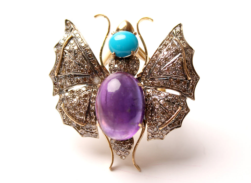 Turquoise, Amethyst, Diamond Bee Ring