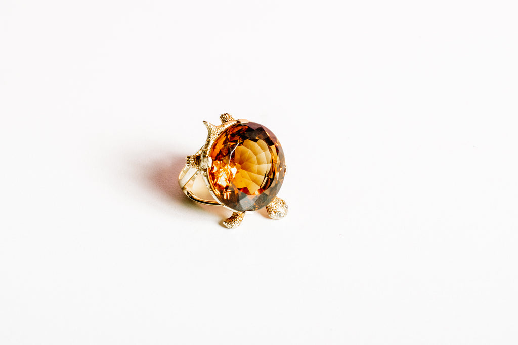 Citrine 18kgold Diamond Turtle Ring
