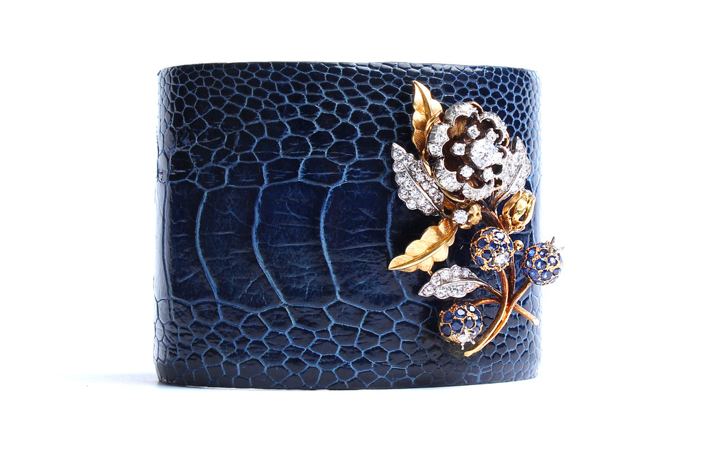 Crocodile Cuff 14k Gold Sapphire Diamond Flower Charm Cuff