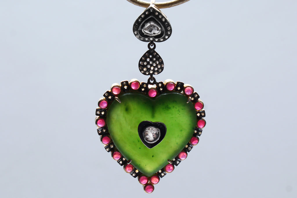 Emerald, Ruby, Rose Cut Diamond, 14 Karat Gold Heart Pendant