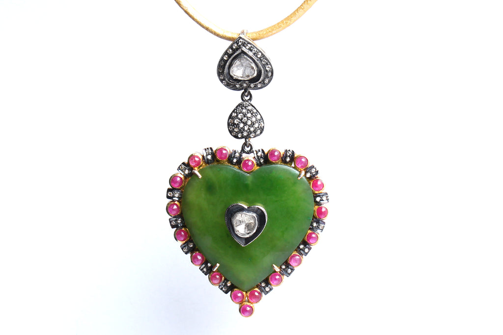 Garnet 14 Karat Gold Diamond Ruby Emerald Heart Pendant Rosary