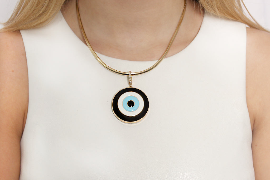 Turkish Evil Eye Ebony Enamel Pendant