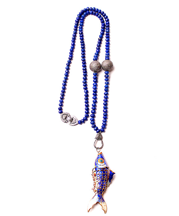 Fish Pendant on Lapis Beads
