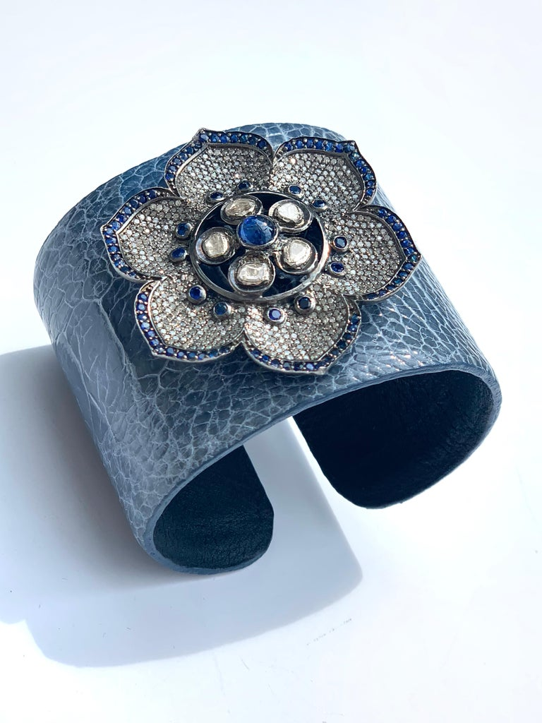 Rose Cut Diamond, Sapphire, Flower Crocodile Skin Bracelet
