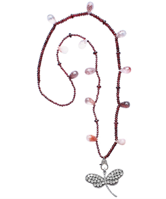Garnet Rubelite Diamond Silver Dragonfly Pendant Beaded Necklace